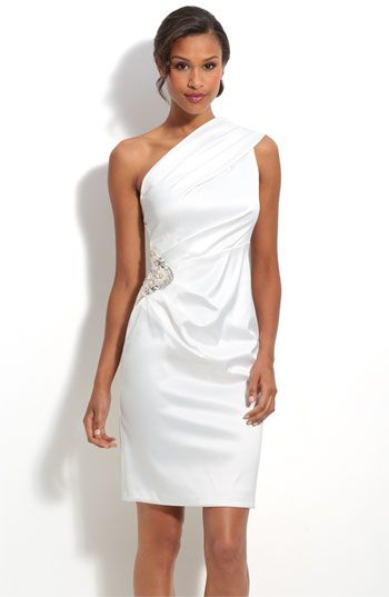Eliza J Beaded One Shoulder Satin Dress available at Nordstrom