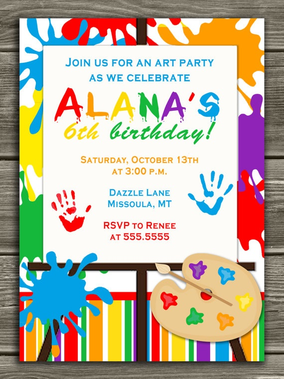 art party birthday invitation free thank you by