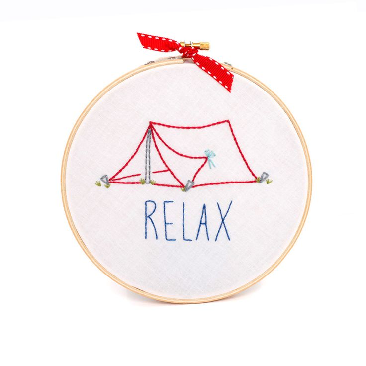 """Embroidered Pop-up/Triangle Tent (with """"Relax"""") Hoop Art by Embroiderwee"""