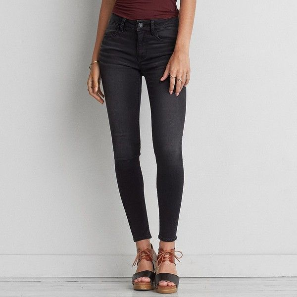 AE Super Soft Jegging ($50) ❤ liked on Polyvore featuring pants, leggings, black, stretch trousers, american eagle outfitters pants, stretchy pants, american eagle outfitters jeggings and stretch jean leggings