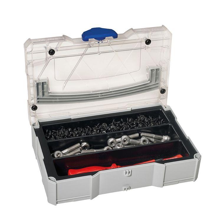 Mini-systainer I med transparent lock och insats med 3, 5, 6 eller 8 fack via KiwiTOOLS. Click on the image to see more!