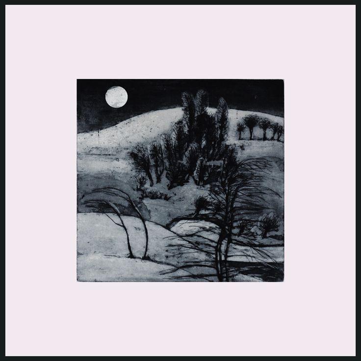 noapte de iarna cu luna plina.varianta la gravura peisaj de iarna.aquaforte si aquatinta