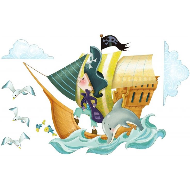 stickers bateau de pirates