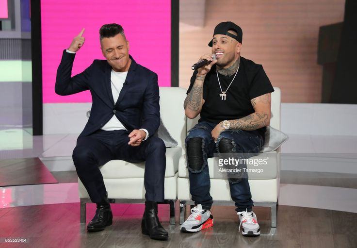 Jorge Bernal (L) and Nicky Jam are seen on the set of Telemundo's 'Suelta la Sopa' where Nicky Jam announced that Telemundo would be airing his biopic on March 10, 2017 in Miami, Florida.