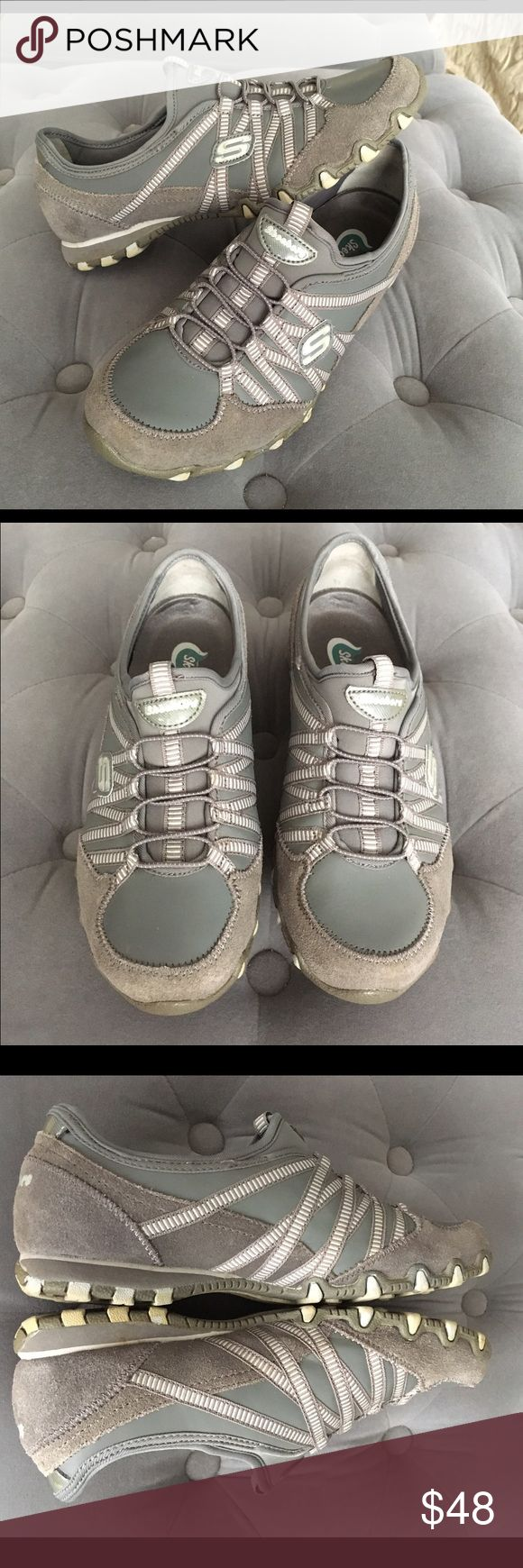 Skechers Bikers Sole Attraction Size 6.5 Gray Skechers Bikers Sole Attraction slip on sneakers with leather and nylon uppers. Color Gray. Size 6.5 Skechers Shoes Athletic Shoes