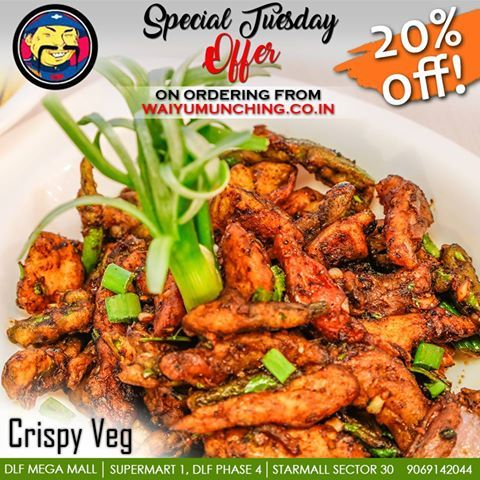 SPECIAL TUESDAY OFFER! Hot and crispy vegetarian treat for your taste buds & more! 20% OFF on ordering Chinese from www.waiyumunching.co.in