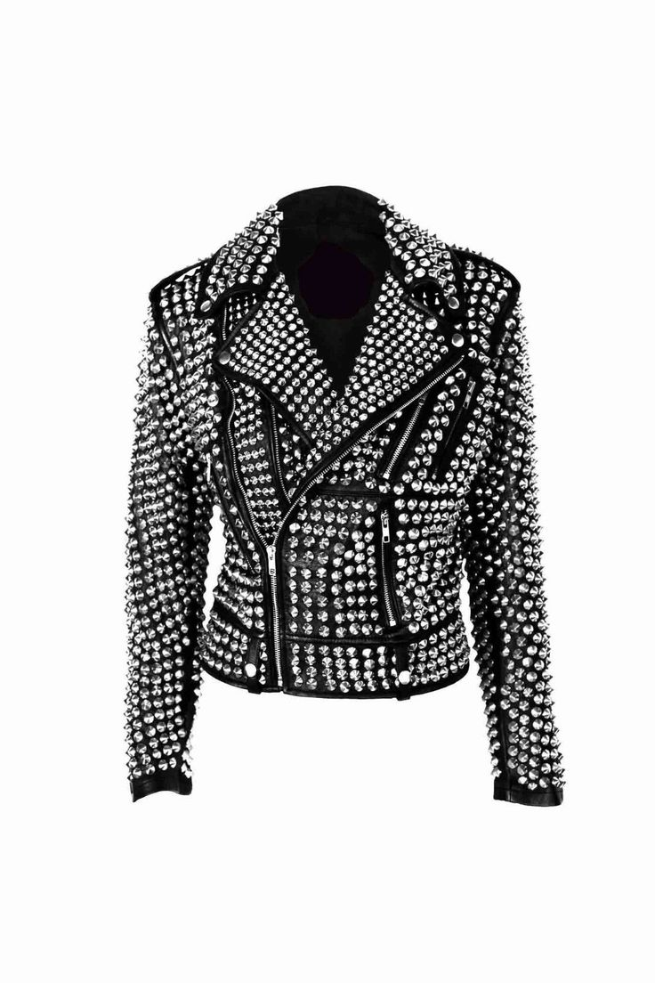 A.L.C Woman Full Silver Studded Punk Cowhide Leather