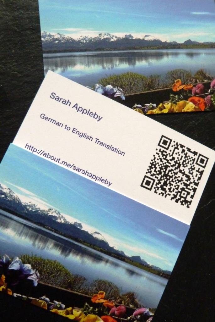 Temporary business cards before the new logo launch | Sarah Appleby Translation #recycledpaper #Bayern #QRcode