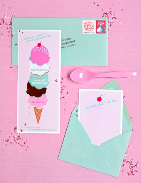 Free invites and favor tags; also, cute tutorial for ice cream cone headband