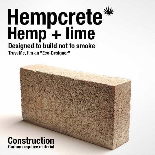 HEMPCRETE - ABSORBS CO2! - a building material that was energy-efficient, non-toxic and resistant to mold, insects and fire. The material may even have a higher R-value, or thermal resistance, than concrete, a claim that is still being investigated.