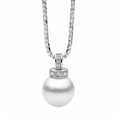Silver and Some - Georgini Necklace, White Pearl 12mm Pendant.   White Pearl 12mm Pendant This beautiful pendant necklace is a 20mm drop shell based pearl on a 46cm chain.