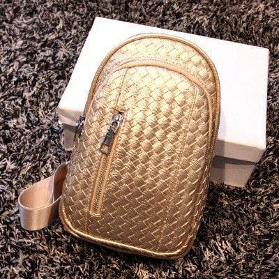 Ladies Luxury Small-Capacity Basket-Weave Pattern Messenger Shoulder Crossbody Handbag