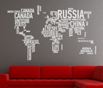 VÄGGDEKOR världskarta i text