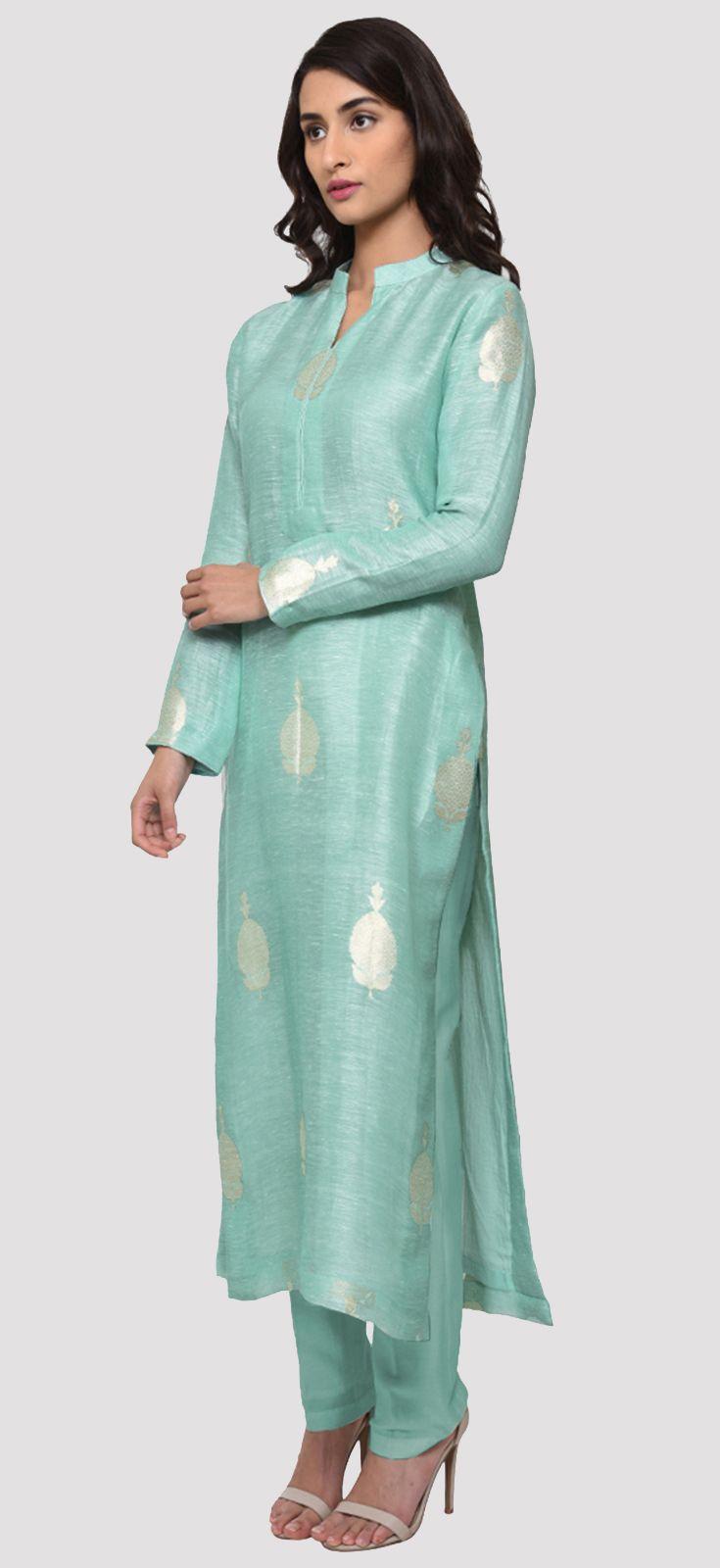 Limpet shell banarasi zari handwoven silk linen kurta