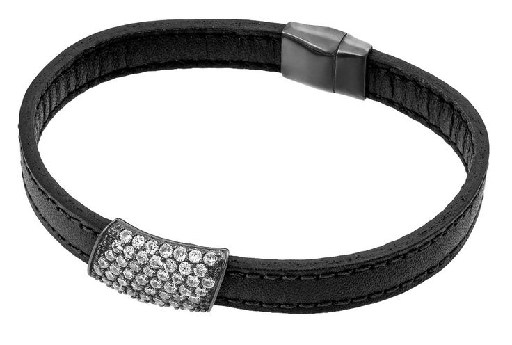 .925 Sterling Silver Black Rhodium Plated Clear Micro Pave Cubic Zirconia Leather Bracelet