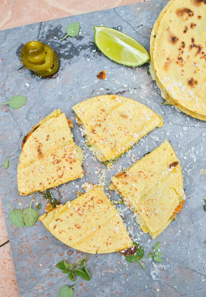 cheesy sweet potato spinach #quesadillas {The Curried Cantaloupe}