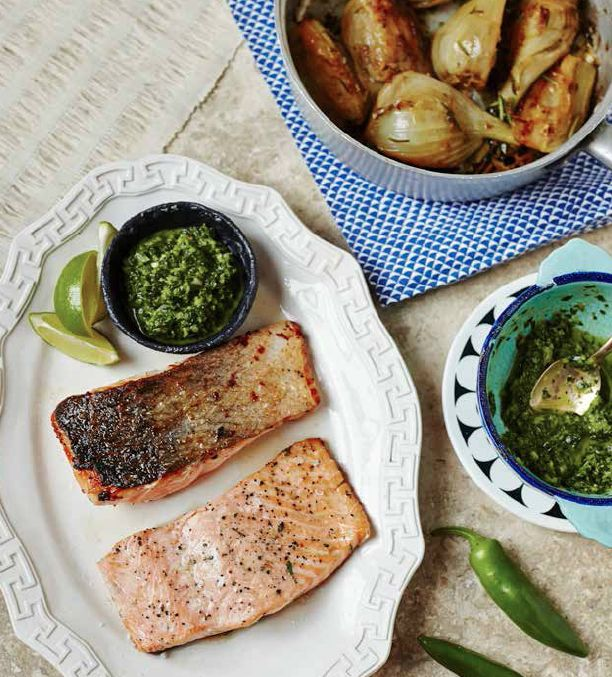 Salmon with Argentinian Chimichurri sauce
