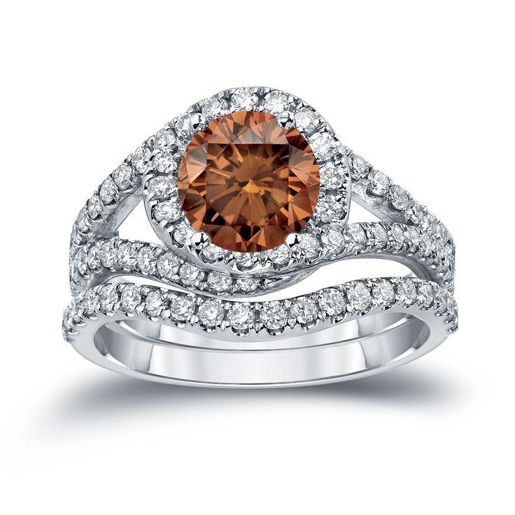 Auriya 14k Gold 1 7/8ct TDW Round Cut Brown Diamond Halo Bridal Ring Set (Brown, SI2-SI3) (White Gold - Size 6), Women's