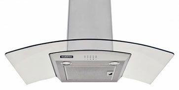 Tramontina: moderna campana de pared Vetro 90, hechas de acero inoxidable para cocinas de hasta 90 cm. Acompaña la campana dos filtros de carbón activado, dos filtros de aluminio y un tubo flexible para salida del aire. Funcionan como extractor o como depurador.
