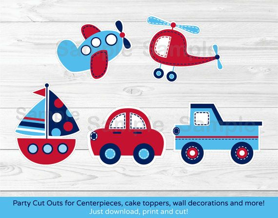 Transportation Cut Outs / Vehicle Cut Outs / Car / Truck / Sailboat /  Airplane / Baby Shower Decoration / Printable INSTANT DOWNLOAD