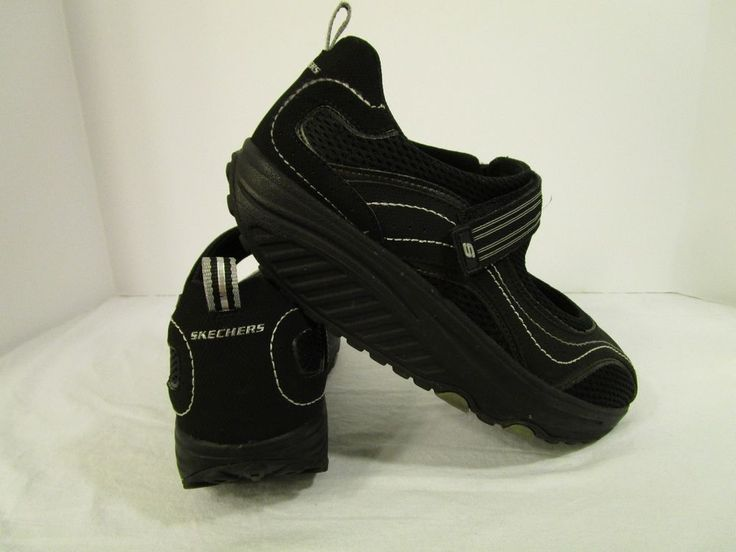 SKECHERS SHAPE UPS Shoes Women's Athletic Black Mary Janes Velcro Strap #SKECHERS #FashionSneakers