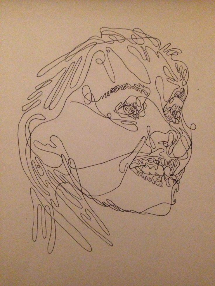 Contour Line Drawing Portrait : Best images about continuous contour line portraits on
