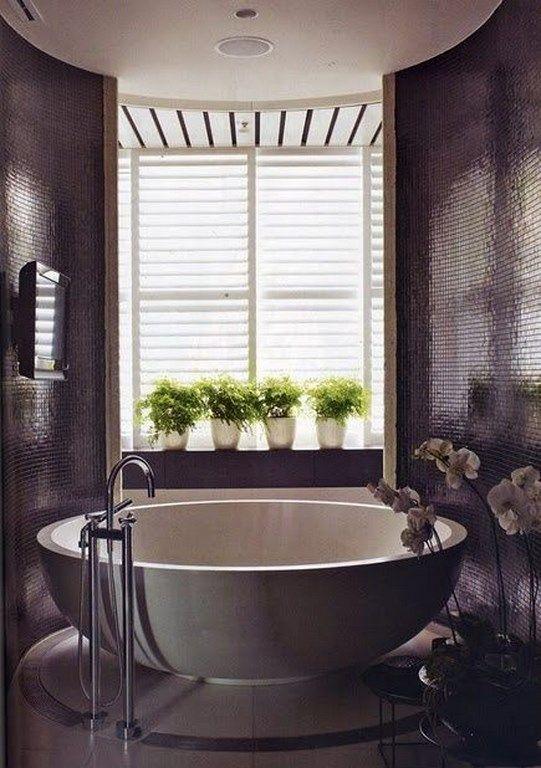 Dark Purple Bathroom #Interior #Decorations #YourNewRoommate