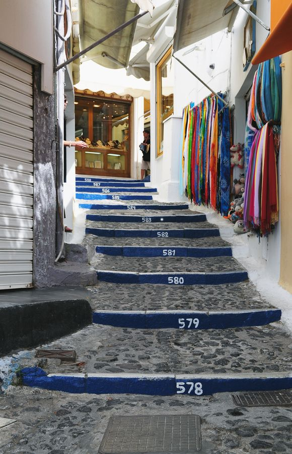 588 steps from the old port to Fira ~ Santorini island, Greece