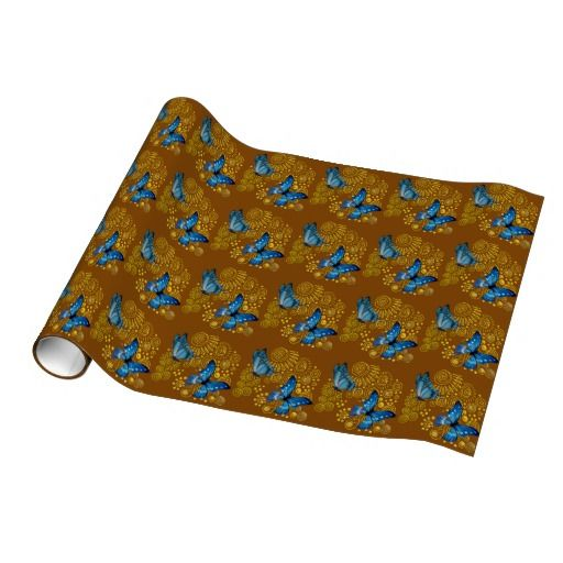 Recyclable Blue Butterfly and Gold Spiral Gift Wrap $19.95 per roll