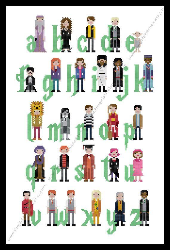 Harry Potter Themed Alphabet cross stitch  PDF by FangirlStitches, $9.00