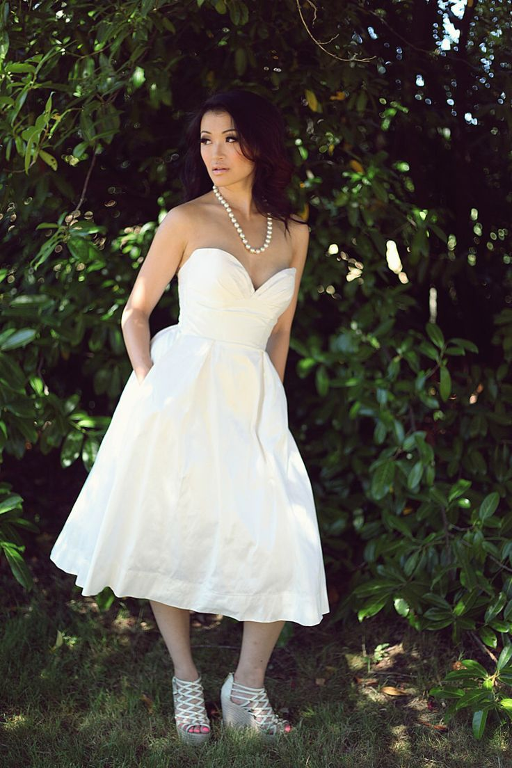 Tea Length Wedding Dress, Silk Wedding Gown, Alternative