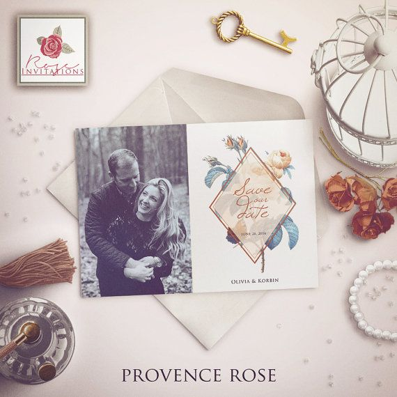 Provence Rose  Save the date photo card by RoseInvitations on Etsy