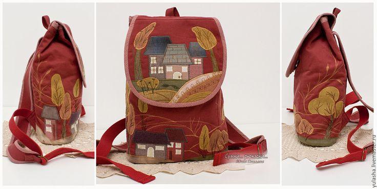 """Купить """"Домики"""". Городской женский рюкзак. Вишневый цвет - бордовый, рюкзак, рюкзак женский"""