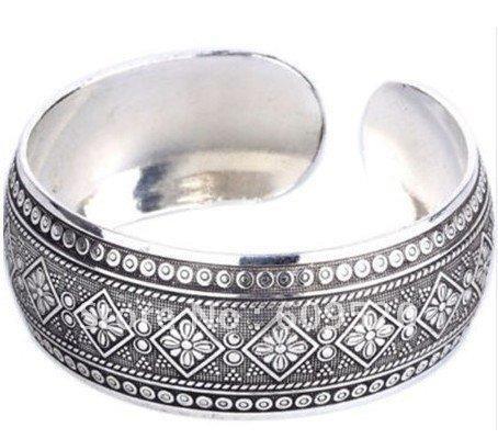 Tribal Tibet Silver Lucky Totem Cuff Bracelet Women's Men's Unisex Fashion Jewelry