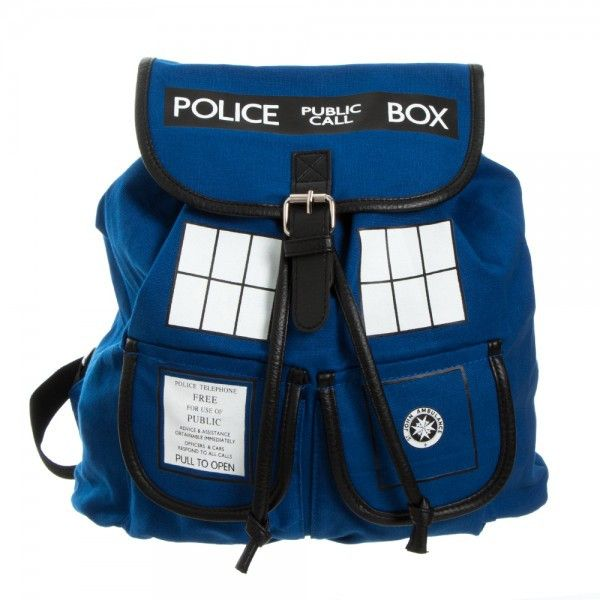 """Dr. Who Blue Tardis Knapsack This limited run Dr.Who Blue Tardis sublimated knapsack is great for the Dr. Who lover in you. Material: 90% POLY/10% PU Size: 16""""(H) x 13.5""""(W) x 6"""" (D)"""