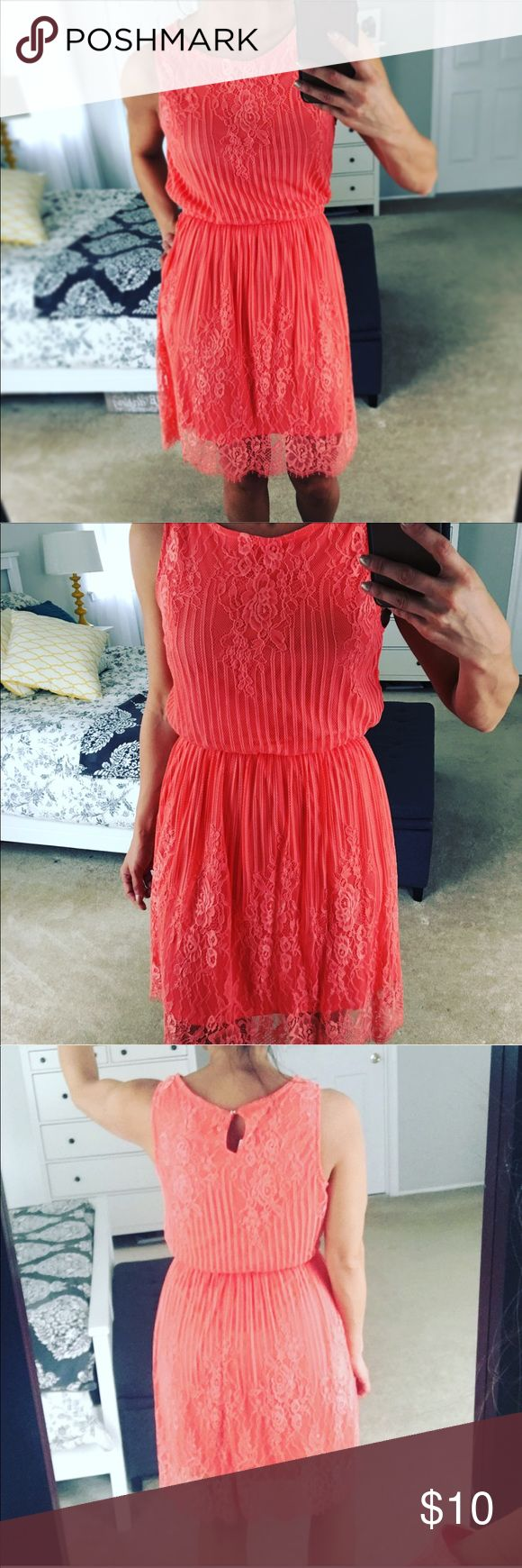 CORAL LACE DRESS NWT coral colored lace dress with a cinched midsection that's super flattering. Eyeshadow Dresses