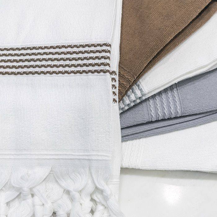 Mediterranean Bath Towels have a woven border & are edged with elegantly hand-knotted fringe.  We loomed our towels using a blend of cotton & Tencel+PlusTM that absorb water quickly, dries the body & lightly exfoliates the skin. Unlike a conventional bulky towel, the Mediterranean Towel fits neatly into a bag & can easily double as a pool or beach towel yet large enough to wrap around the body & can be tied to function as a sarong or spa-wrap. It dries effortlessly on the towel bar, clothes…