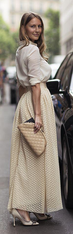 Beige Maxi Skirt Fall Inspo