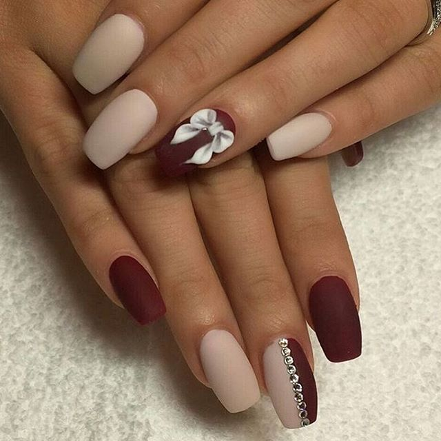Cute nails via @stylushnails Burgundy and Nude colours killing it. #BeautyWednesday #Makeup #MakeupBrushes #Brushes #Sparkle #Beauty #Sparkle #Nails #Nailpolish #Love #Loveit #Fashionr