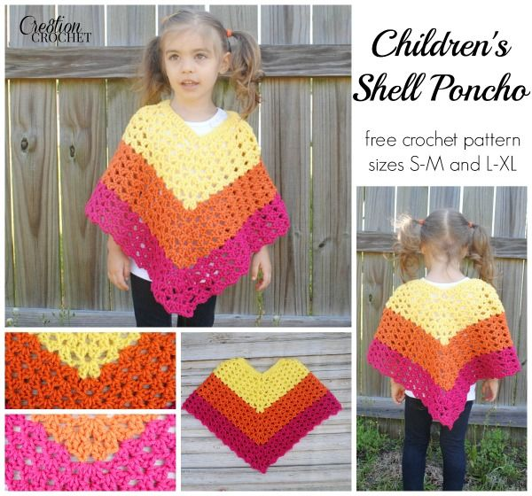 Children's Shell Poncho FREE crochet pattern by #cre8tioncrochet.  Sizes S-M and L-XL
