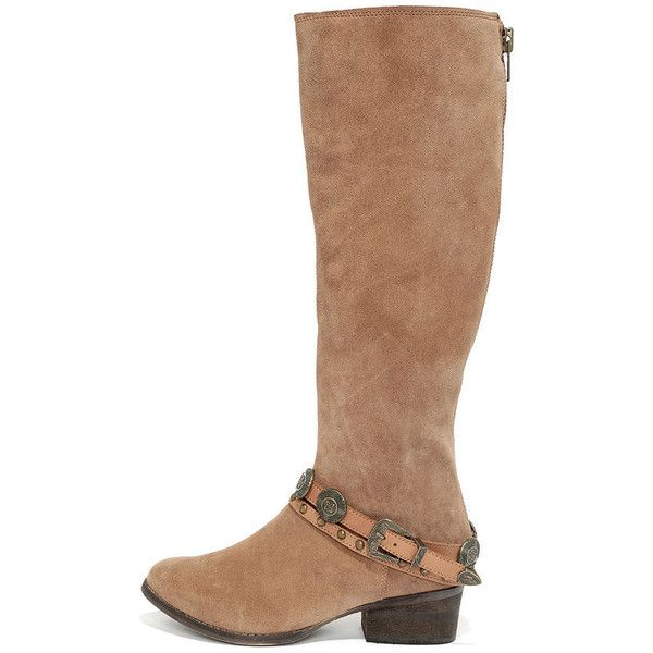 Coconuts Wichita Tan Suede Leather Knee High Boots ($127) ❤ liked on Polyvore featuring shoes, boots, beige, tan knee high boots, suede knee high boots, suede cowboy boots, beige suede boots and tan suede boots