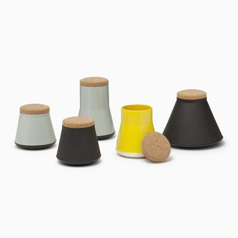 established & sons | glazed ceramic storage jars w/ cork tops
