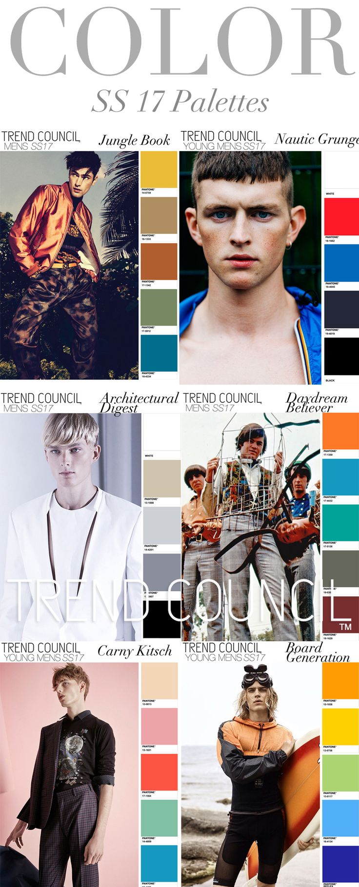 TREND COUNCIL S/S 2017 MEN'S COLOR PALETTES