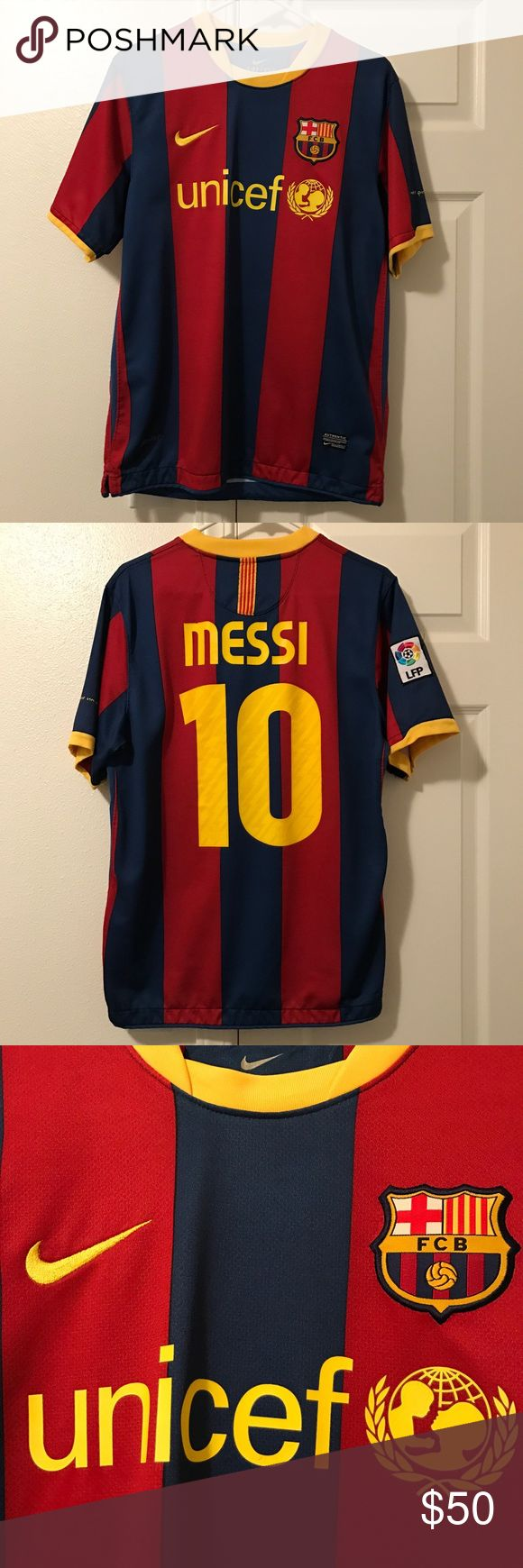 2010/2011 FC Barcelona Jersey 2010/2011 FC Barcelona - Lionel Messi Jersey. This was the last year that the UNICEF logo was front and center! Classic colors and design. Great condition jersey. Must have for any FC Barcelona and Messi fan. Makes a great gift! Reasonable offers gladly accepted. #fcbarcelona #fcbarcelonajersey #jersey #fcb #soccerjersey #lionelmessi #messi #nike #nikejersey #messijersey #classicjersey#nikesoccer #soccer Nike Shirts