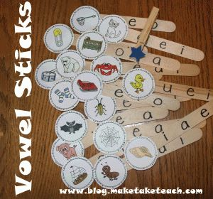 FREE pics to make your own vowel sticks. Self checking feature makes this a great literacy center activity!
