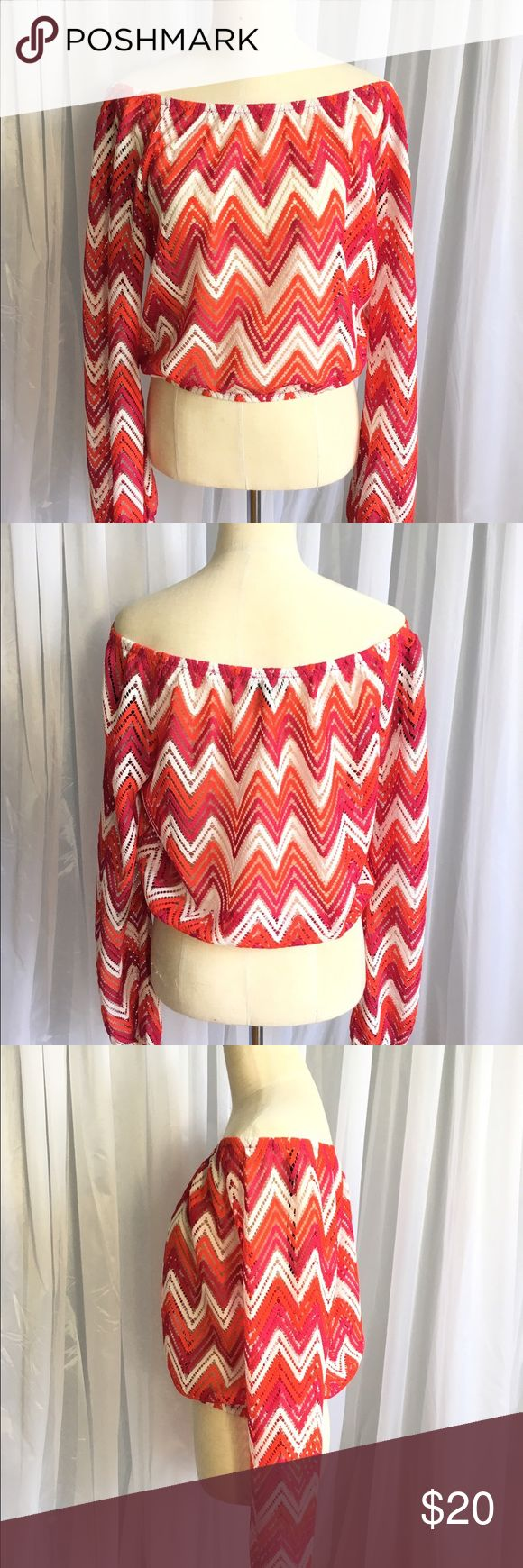 Bebe top Mesh off shoulder top with chevron pattern. Elastic band at waist. Looks perfect with white denim shorts! Gently worn in pristine condition. bebe Tops Blouses