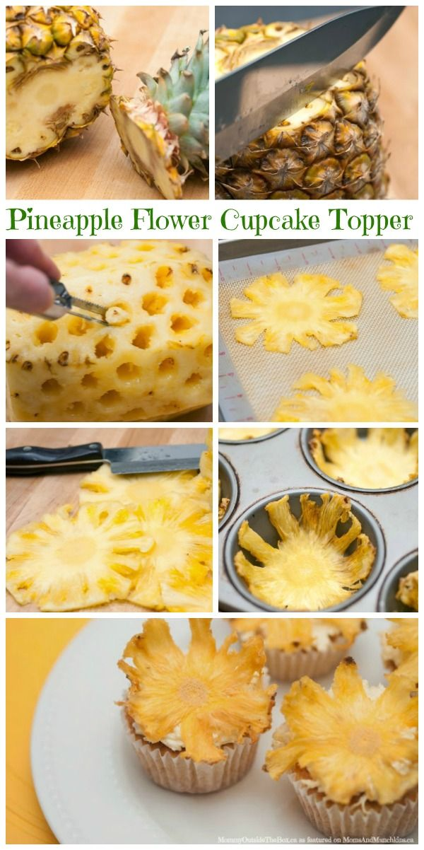 Pineapple Flower Cupcake Topper Tutorial - Moms & Munchkins