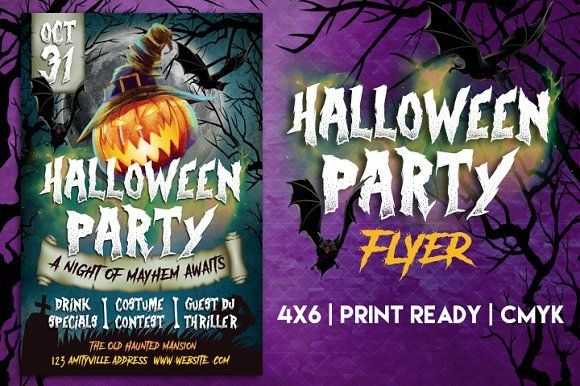 Halloween Party Flyer by Lucion Creative on @creativemarket