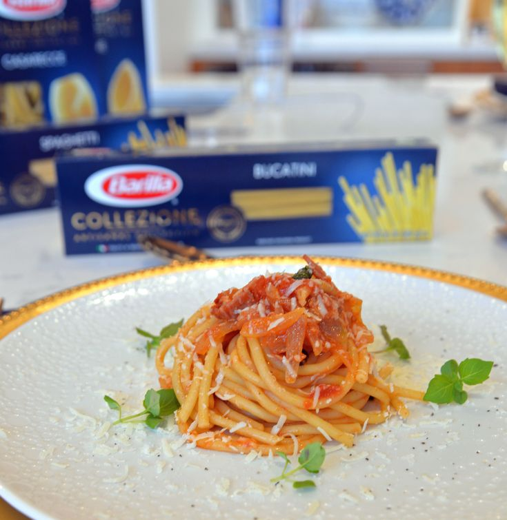 Barilla Collezione Bucatini with Smoky Amatriciana Sauce
