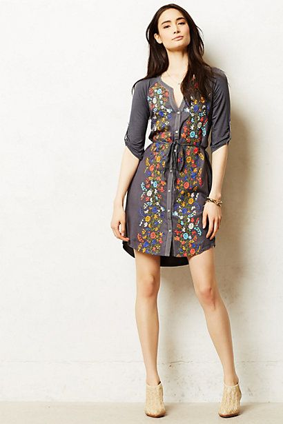 Gathered Vines Tunic #anthropologie - grey dress with your colors in flowers down the front